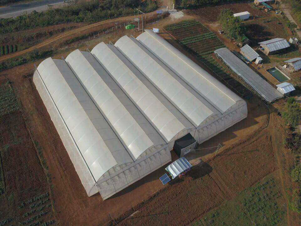 Aerial view of the demonstration greenhouse in Heho, Shan State, Myanmar