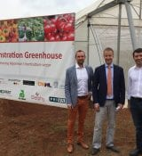 Matthias Brienen (Larive International). Wouter Jurgens (Dutch Ambassador) and Paolo Cerati (Fresco Myanmar Co.Ltd) at opening cermony of demonstration greenhouse on 2 May 2018