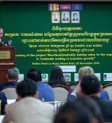 Agriculture Minister Veng Sakhon Speaks During The Launch Of RiceTechCambodia At Raffles Hotel Le Royal